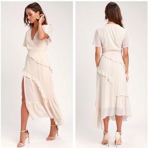 Lulu's Next to You Cream Swiss Dot Midi Dress